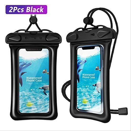 leihao888 wasserdichte Handyhülle Unterwasser Smartphone Packsack Airbag Float Aufbewahrungstasche Ipx8 Touch AndroidHandyhülle 2er schwarzer Koffer