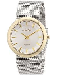 Pandora 812014WH - Reloj analógico de mujer de cuarzo con correa de acero inoxidable plateada