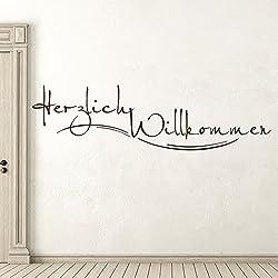 KLEBEHELD® Wandtattoo Stylisches Herzlich Willkommen für Flur und Eingang Farbe schwarz, Größe 80x22cm