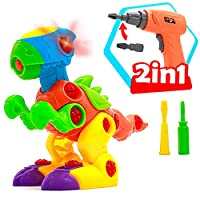 Akokie Dinosaur Toys with Drill Take Apart Toys Set Assemble Construction Toy Kit Dinosaur Puzzle Figure for Kids Boys Girls 3 4 5 Years Old