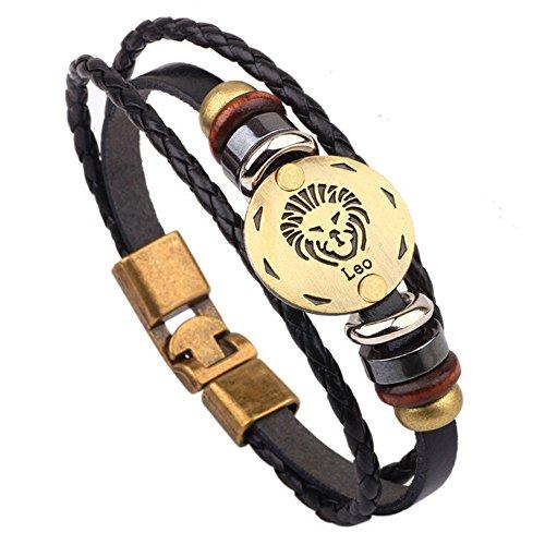 WooCo 12 Konstellationen Armband Modeschmuck Leder Armband Persönlichkeit Armband Sale(G) -