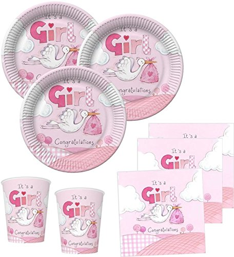 48 Teile Baby Shower Deko Set Rosa Storch 16 Personen