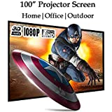 100 Inch Portable Projector Screen 16:9 HD Foldable Projection Screen Home Theater Movie Screen For Indoor Outdoor Use