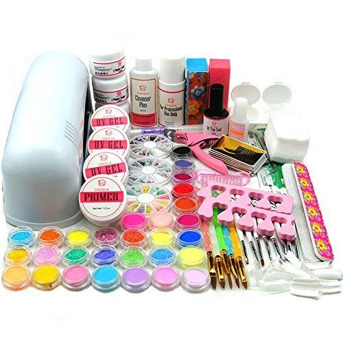 Coscelia 9W Lampe UV Blanc Sèche Ongle Poudre Acrylique UV Gel Faux Ongles Nail Art Decor Kits