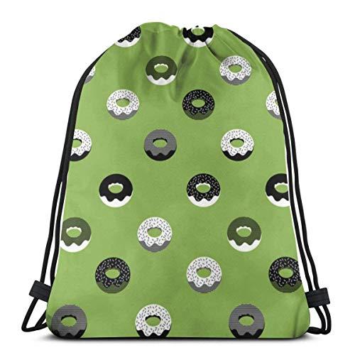 Doughnuts Drawstring Backpack Bag Gym Sack Sport Beach Daypack for Girls Men & Women Teen Dance Bag Cycling Hiking Team Training 17 X 14 Inch