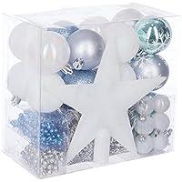 Lot déco Noël - Kit 44 pièces pour décoration sapin : Guirlandes, Boules et Cimier - Thème couleur : BLEU, BLANC et ARGENT
