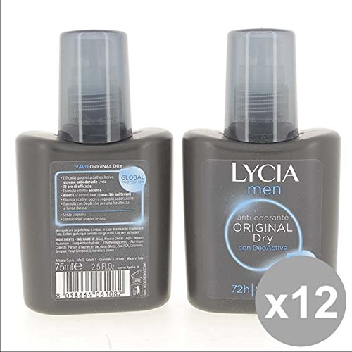 Set 12 LYCIA Men Deodorante Vapo 75 Original Dry Deodoranti per il corpo