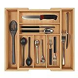 Homfa Bambus Besteckkasten ausziehbar 7 Fächer Besteckfach für Schubladen Schubladeneinsatz als Küchenorganizer Besteckeinsatz verstellbar 30-50x40x5cm(BxTxH)