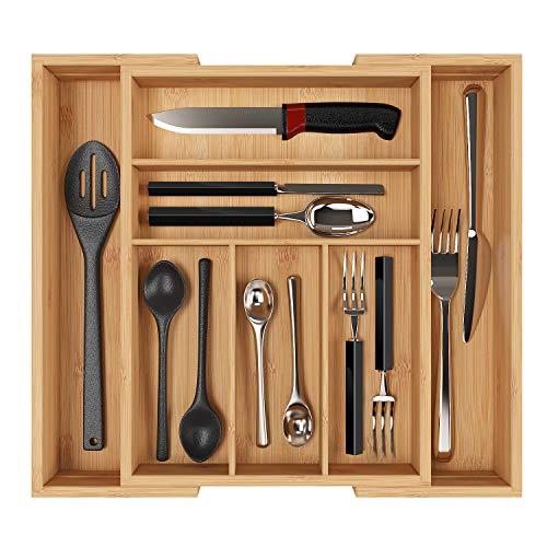 Homfa Bambus Besteckkasten ausziehbar 7 Fächer Besteckfachfür Schubladen Schubladeneinsatz als Küchenorganizer Besteckeinsatz verstellbar 30-50x40x5cm(BxTxH) -