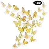 JUN-H 36 Pcs Adesivi Murali Farfalle 3D Decorazione Farfalla Adesivi Murali Fai-Da-Te Camera da Letto Decorazioni per Bambini Decalcomanie Carta Murale Decorativa Rimovibile (Oro)