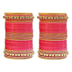 MUCH MORE Gorgeous Fuchsia Color Chaming Bridal Chura Set For Women Wedding Jewelry