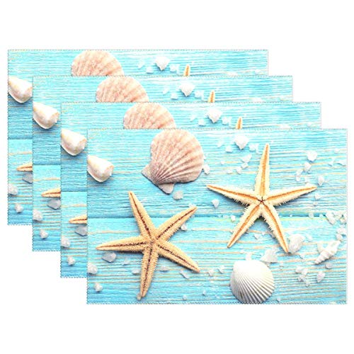 GOODSTHING Tischset, Sea Star Shell Starfish Placemat Table Mat 12