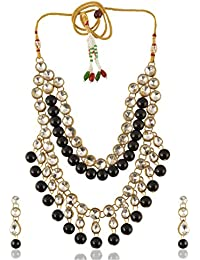 Geode Delight Black And Gold Alloy Multi-Strand Necklace Set For Women