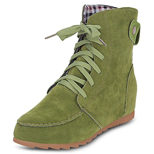 Trendy Round Toe Lace-up Suede Elevator Shoes Women Ankle Boots Green
