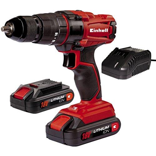 Einhell TC-CD 18-2 Li-i - Taladro de Impacto sin Cable, con Cargador, 2 baterías 1.5 Ah, 2 velocidades, portabrocas 13 mm, 40 NM, 18 V, Color Rojo y Negro