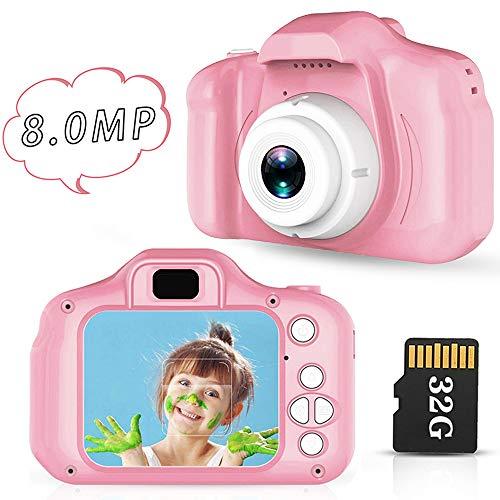 Lovebay Macchina Fotografica Bambini IPS 2,0 HD Fotocamera Bambini Digitale per Bambini 8 Milioni di Pixel Fotocamera Bambini Registrazione di Foto per Bambini 3-5-6-7 Anni(Blu) 32G
