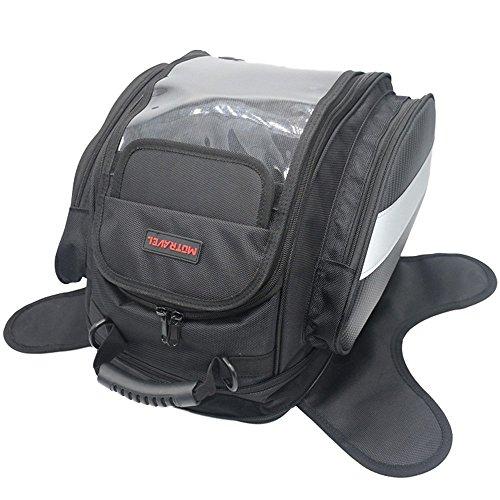 Suntime - borsa moto da serbatoio, magnetica, in tela oxford impermeabile, per viaggi e attività all'aperto, nera, compatibile con harley davidson e altri marchi l nero