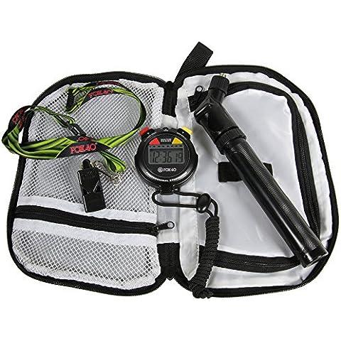 Fox 40multi sport calcio arbitro Kit di accessori (Custodia, fischietto, cronometro, Pompa)