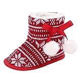 Manadlian Chaussures Bébé Boule de Noël Bébé Semelles Souples Bottes de Neige Chaussures de Crèche Souples Bottes Enfant en Bas Âge (6~12 Mois, Rouge)