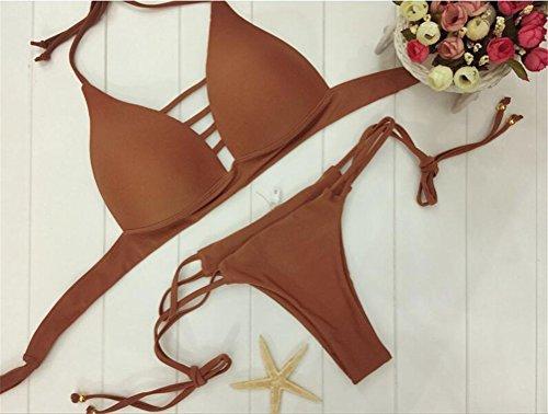 Sexy Solid Color Straps Ausschnitt oben drücken Padded 2 Stück Bikini-gesetzte Badebekleidung Badeanzug der Frauen Kaffee
