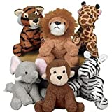 Zoo Safari Jungle Plush Stuffed Animals ZEBRA MONKEY ELEPHANT TIGER LION GIRAFFE