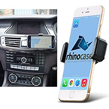 Rhino Gadget Universal in Car Air Vent Mount Holder for Apple iPhone X 8 7 6S 6 Plus SE 5 5S 5C Samsung Galaxy S8 S7 S6 Edge S5 A3 Note 8 5 4 Edge LG G6 G5 HTC One Google Pixel Nexus Huawei OnePlus Sony Xperia - Black