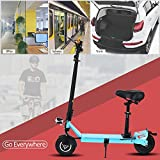 AMdirect Adult Electric Scooter with Adjustable Seat, Fast Folding|Compact Mini E-Scooter with Key Lock,Quick Charge Battery,Wheels with suspension, 350W Motor Endurance 15miles, Teens Age 12+
