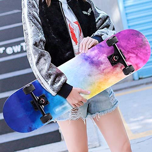 Professionelle Skateboards Standard Skateboards Komplettes Longboard Concave Deck 4 Rollen Ahorn für Kinder Jungen Mädchen Erwachsene Anfänger (Farbe : A) -