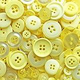 Gelbe Köpfe; 100 Gramm; Beutel mit gemischten Knöpfen aus Acryl und Harz; für Karten und Verzierungen