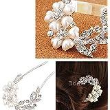 1Pc Fashion Elegant Shining U Shape Hair Clip Wedding Bridal Rhinestone Beads Hair Pin # 28615