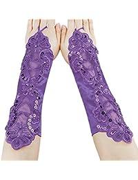 niceEshop(TM) Damen Satin Lace Bridal Fingerlose Handschuhe für Hochzeit Prom