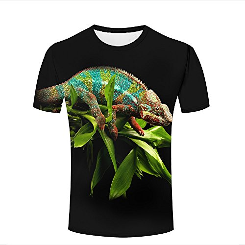 WEIYI BO Herren Casual 3D Animal Print Tees Amazing Colorful Chameleon Crew Neck Short Sleeve T-Shirts Tops for Couples XL