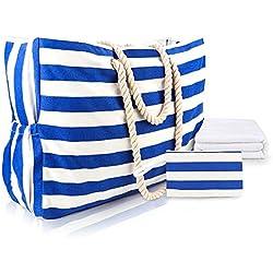 MESOCO Bolsa de playa impermeable - Bolsa de lona de rayas azul oscuro con asas de cuerda de algodón, soporte para llaves integrado, toalla de playa, bolsillo para cartera, abrebotellas