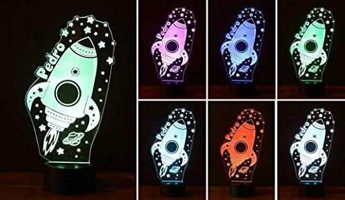 Rakete, Kinder-Personalisiert mit Namen, Nachtbeleuchtung LED, Nachtlicht, entfernen Ängste-Nacht LED Licht. Ideal für die Zimmer Babys und Kinder. Bestseller von VPM Original