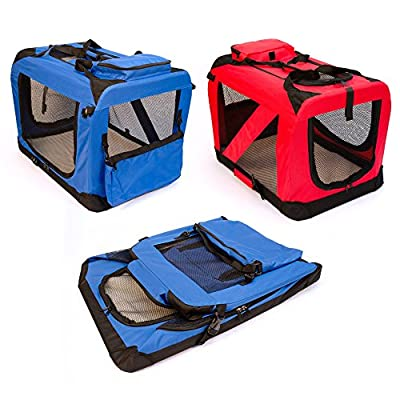 Pet Style Dog Puppy Cat Pet Fabric Portable Foldable Strong Soft Crate Carrier Pet Kennel Cage Blue or Red S, M, L Available - Perfect Unique Present Xmas Christmas Gift
