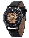 AMPM24 PMW483 Reloj Mecánico Skeleton de Cuero Negro