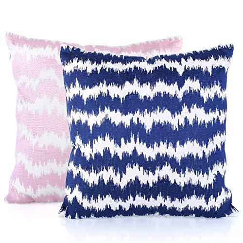 HOMFA Decorativas Almohadas con Relleno 2 Paquete de Estilo Nórdico Minimalista con Bordado de Algodón Cojínes con Relleno Para Decoración Sofá Coche Cama Sala 45x45cm (Azul y Rosa)