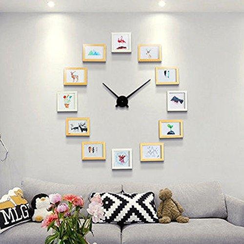 Foto Wandrahmen Kreative Kombination Foto Wand Wandrahmen Set, Esszimmer Wohnzimmer DIY Bilderrahmen Wand + Wanduhr Modisches Design ( Farbe : 3# )
