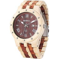 Alienwork Quartz Watch natural solid wood Wristwatch Handmade Red sandalwood red yellow UM109A-04