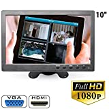 MONITOR 10.1 POLLICI LCD HDMI VGA FULL HD BNC PER AUTO PER VIDEOSORVEGLIANZA immagine