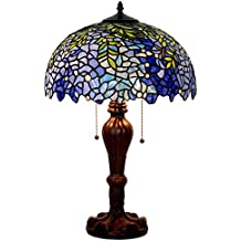 Bieye L30405 16-inches Wisteria Tiffany Style Stained Glass Table Lamp with Metal Base, 24-inch Tall