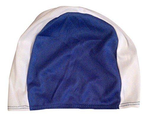 Bonnet de bain en tissu pour adultes et grands enfants Blue & White