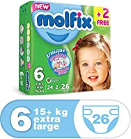Molfix Anti Leakage Comfortable Extra Large Baby Diapers, Above 15 kg, 26 Count (5047423)