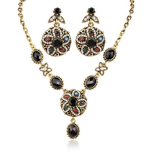 ORKST Frauen Black Jewel Set, Halskette Und Ohrringe (Jewel Halskette Chunky)