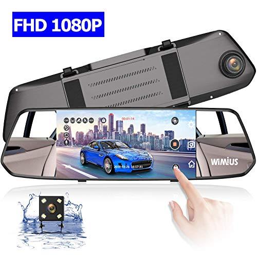 Wimius dash cam doppia telecamera per auto da 7 pollici touchscreen full hd 1080p, telecamera grandangolare anteriore e telecamera posteriore impermeabile, con sistema di retromarcia