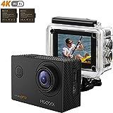 MGCOOL Action Camera 2 x Batteries 4k Wifi Sony 16MP 1080p@60fps Waterproof 30M 8 Accessori - Nero immagine