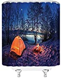 N/A Rideau de Douche Apartment Decor Shower Curtain, Dark Night Camping Tent Photo in Winter on Snow Covered Lands by The Lake, Fabric Bathroom Decor Set with Hooks, Blue Orange