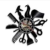 """orologio da parete Lyy 12"""" Parrucchiere Barbiere Negozio Silhouette Salone Vinile Orologio Vintage ▾ Fatto A Mano Regalo Arte Arredamento"""