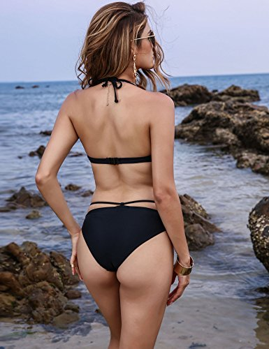 HOTOUCH Damen Bikini Sets Bikini Push Up Badeanzug Swimwear Neckholder Brustpolste Cups Strandmode Typ1-Schwarz