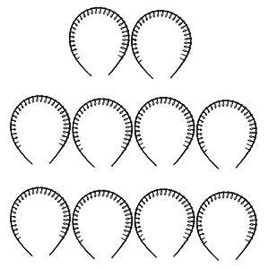 Hellery 10pcs Plain Black Stirnband No Rutsch Grip Lange Zähne Haar Kopfband 8mm Breit